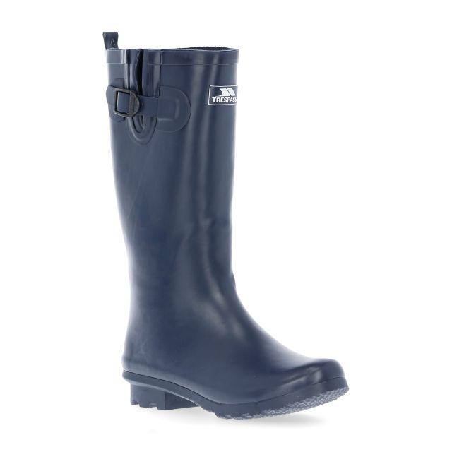 Damon Women's Waterproof Wellies in Navy, Angled view of footwear