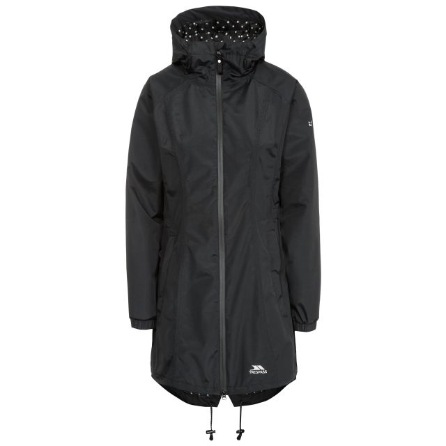 Trespass Womens Waterproof Jacket Long Length Daytrip Black, Front view on mannequin