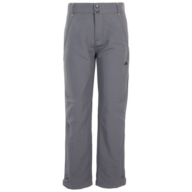 Trespass Kids Walking Trousers UV40+ Fully Lined Decisive Grey, Front view on mannequin