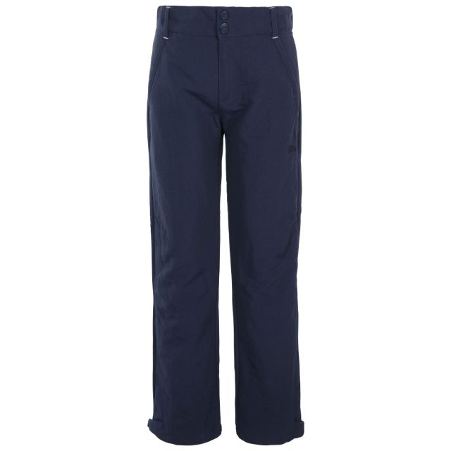 Trespass Kids Walking Trousers UV40+ Fully Lined Decisive Navy, Front view on mannequin