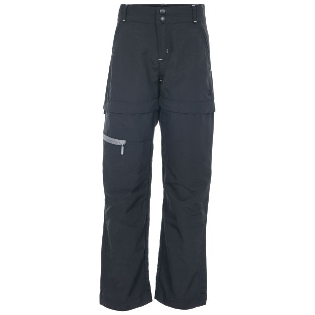 Defender Kids' Convertible Walking Trousers in Black