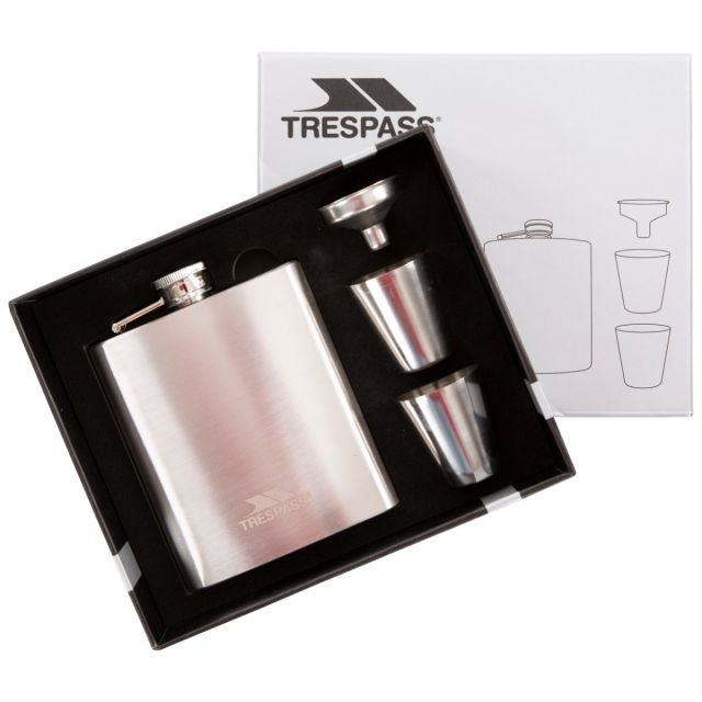 Stainless Steel Hip Flask Set in Light Grey