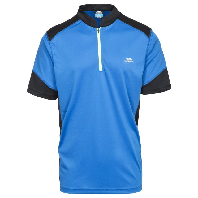 Dudley Men's 1/2 Zip Active T-shirt in Blue