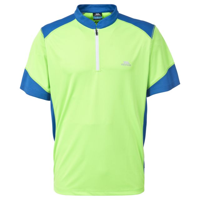 Dudley Men's 1/2 Zip Active T-shirt in Neon Green