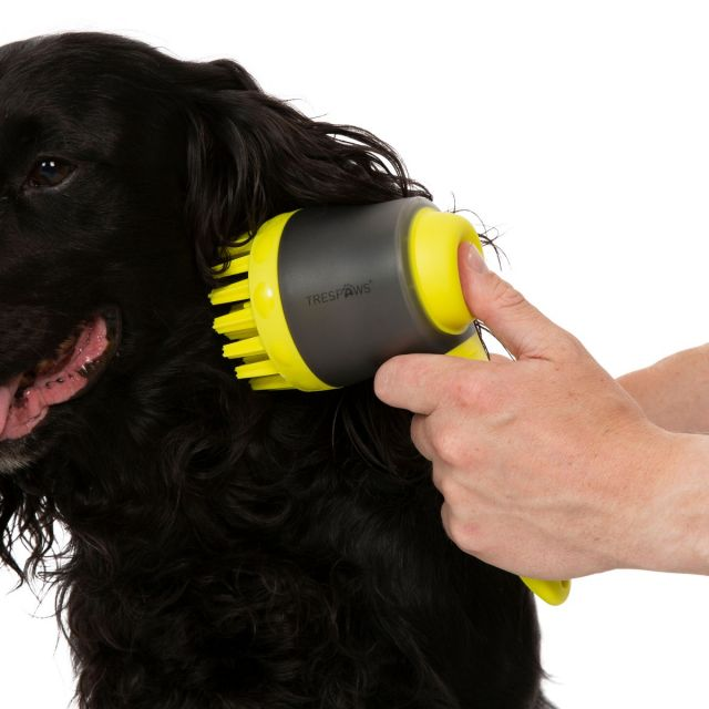 Dusty Trespaws Dog Grooming Brush and Shampoo Dispenser in Neon Green