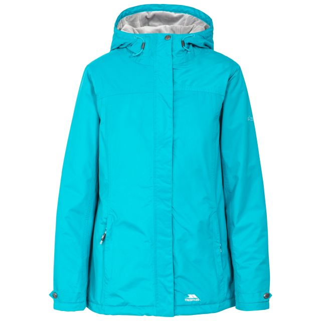 Trespass Womens Waterproof Jacket Padded Edna Marine Blue, Front view on mannequin