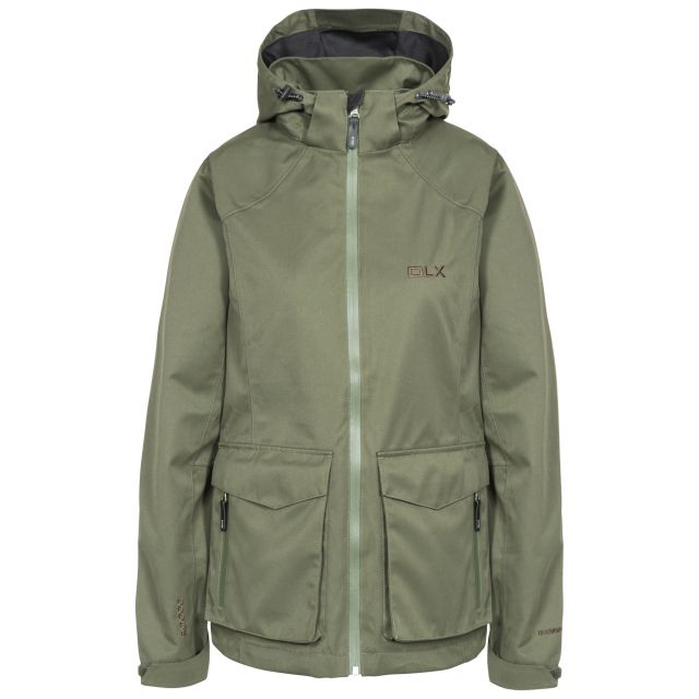 DLX Womens Waterproof Jacket with Hood Emeson in Khaki