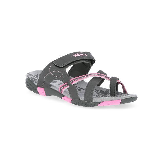 Engel Women's Slip On Thong Sandals in Grey, Angled view of footwear