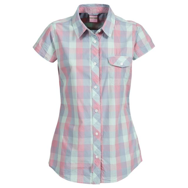 Eriko Women's Short Sleeve Checked Shirt in Pink