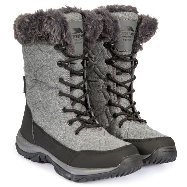 Esmae Women's Fleece Lined Snow Boots in Grey