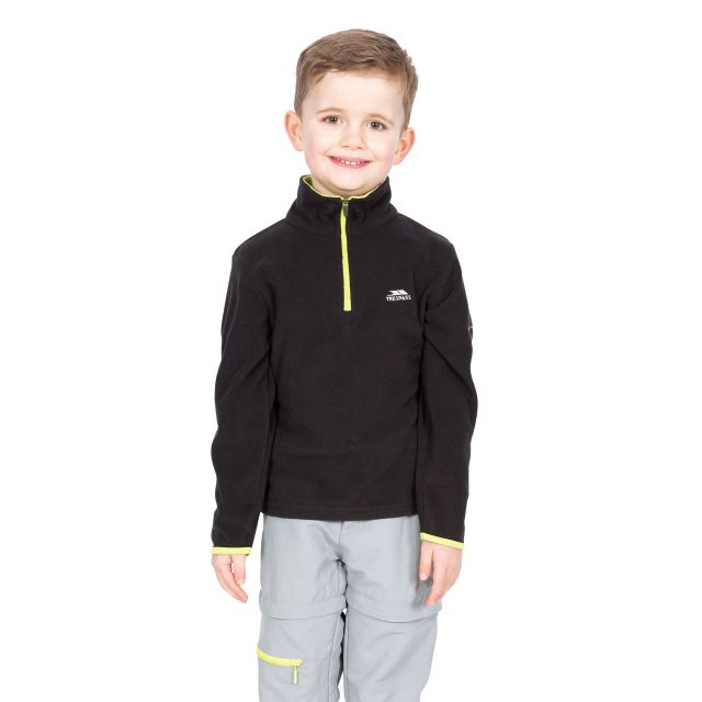 Etto Kids' Half Zip Fleece in Black
