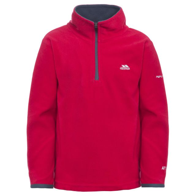 Etto Kids' Half Zip Fleece in Red