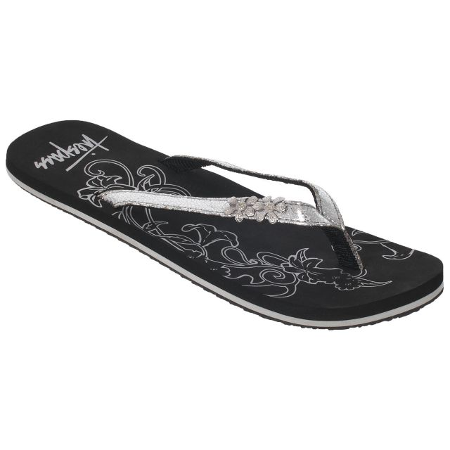 HIDDEN Women's Metallic Flip Flops in Light Grey