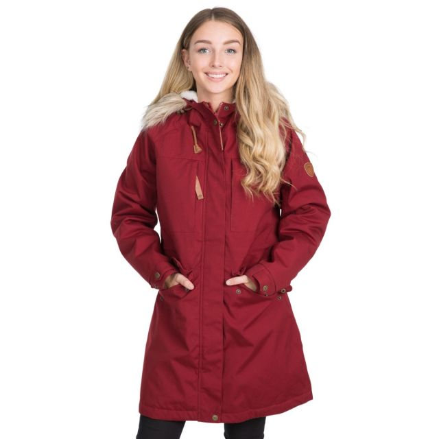 Faithful Women's Waterproof Parka Jacket in Red