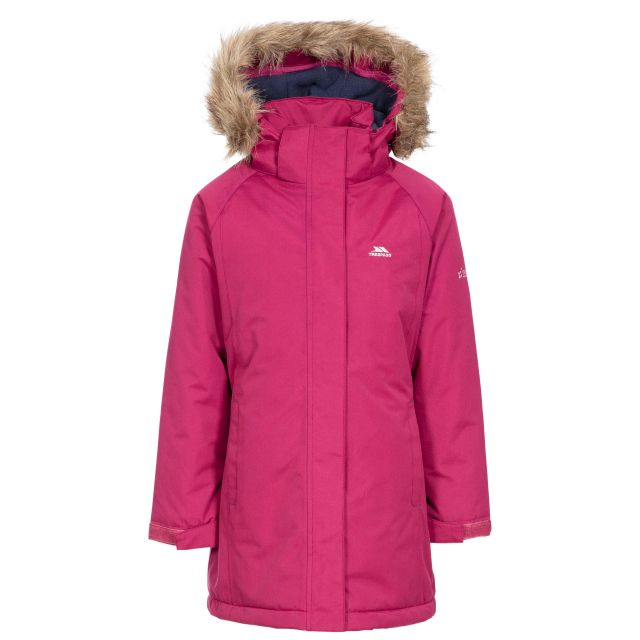 Fame Girls' Waterproof Parka Jacket in Red