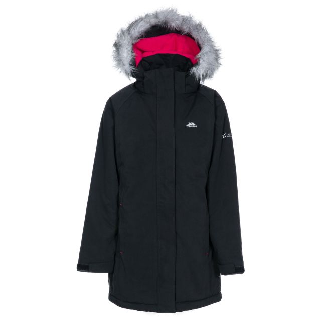 Fame Girls' Waterproof Parka Jacket in Black