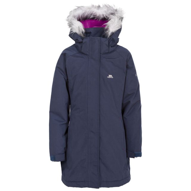 Fame Girls' Waterproof Parka Jacket in Navy, Front view on mannequin