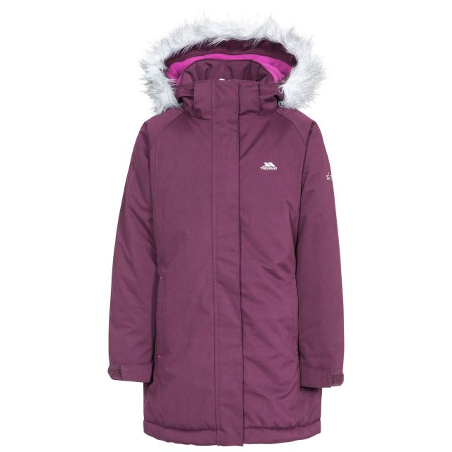 Fame Girls' Waterproof Parka Jacket in Purple