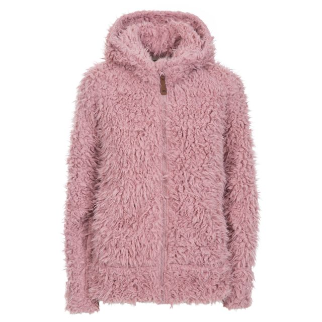 Fluffyness Women's Hooded Fleece Jacket in Pink, Front view on mannequin