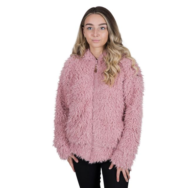 Fluffyness Women's Hooded Fleece Jacket in Pink