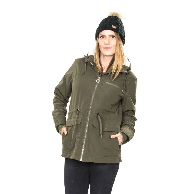 Forever Women's Waterproof Parka Jacket in Khaki
