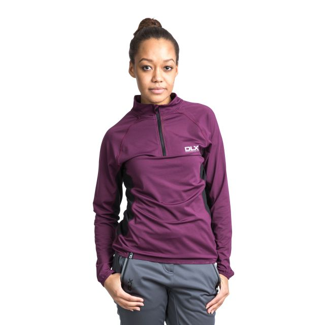 Frey Women's DLX 1/2 Zip Long Sleeve Active Top in Burgundy