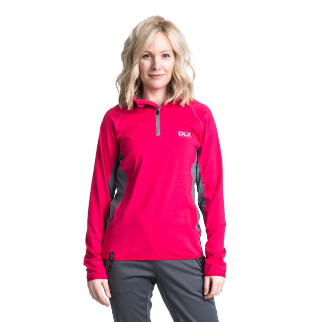 Frey Women's DLX 1/2 Zip Long Sleeve Active Top in Pink