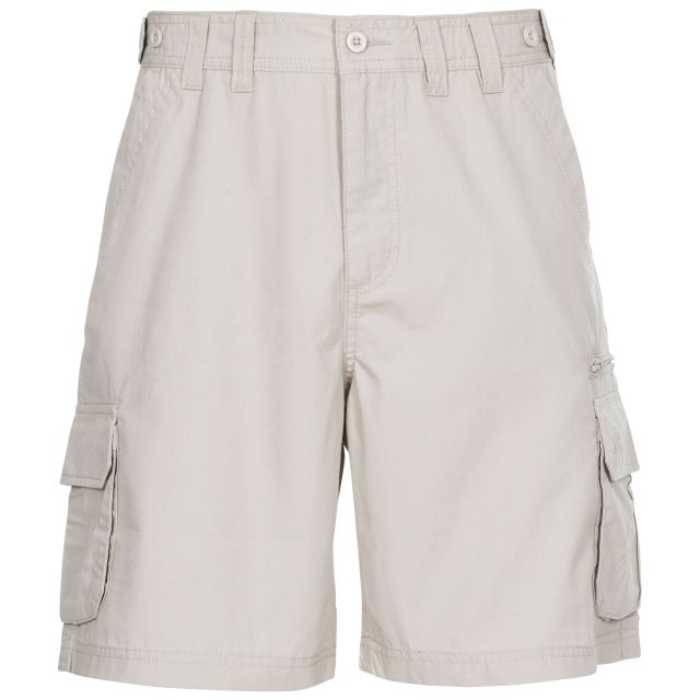 Gally Men's Cargo Shorts in Beige, Front view on mannequin