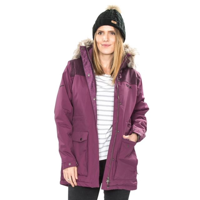 Garner Women's DLX Waterproof Parka Jacket in Burgundy