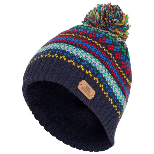 Garrity Kids' Pom Pom Beanie Hat in Navy