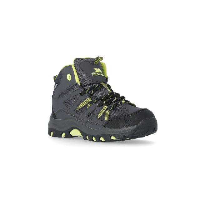 Gillon Kids' Waterproof Walking Boots in Grey, Angled view of footwear