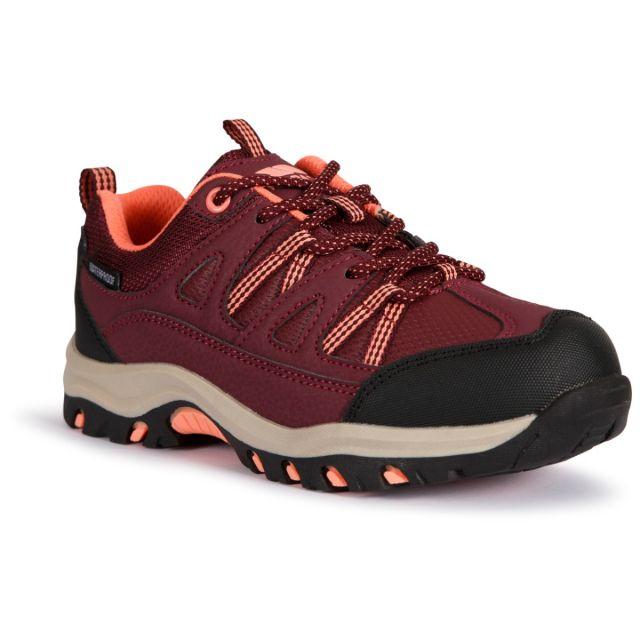 Trespass Kids Walking Shoes Waterproof Low Cut Gillon II Red, Angled view of footwear