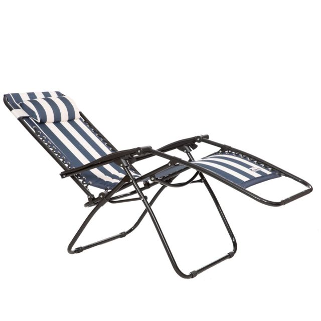 Glentilt Padded Reclining Sun Lounger Chair in Navy Stripe