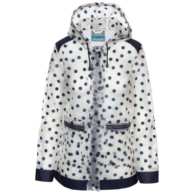 Trespass Women's Waterproof Shell Jacket Gush Navy Dot, Front view on mannequin