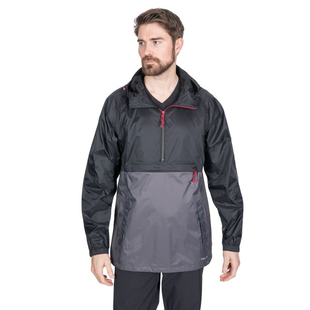 Gusty Men's Waterproof Packaway Jacket in Black
