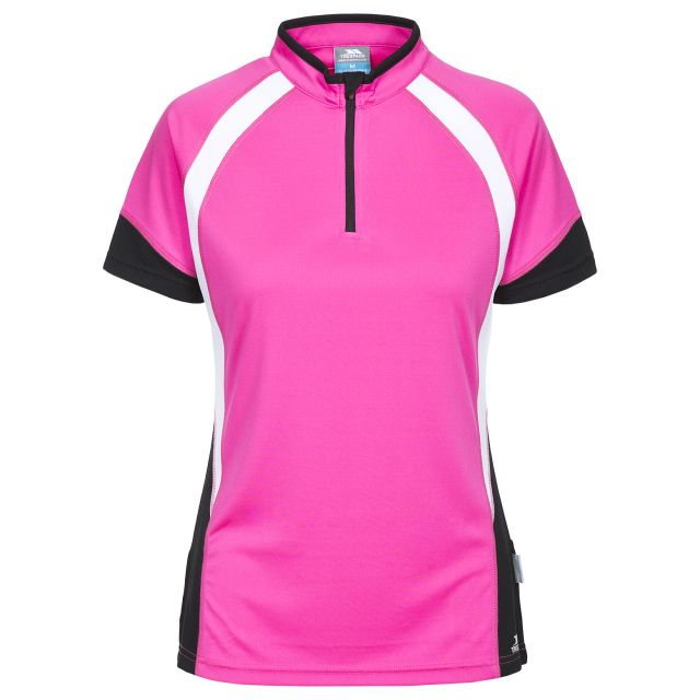 Harpa Women's 1/2 Zip Cycling T-Shirt in Pink