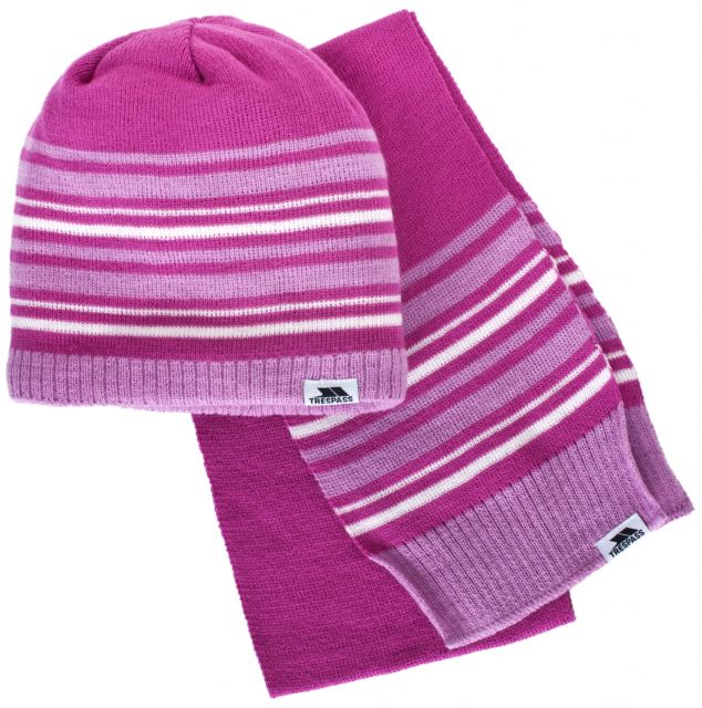 Hedgehog Kids' Hat & Scarf Set in Pink