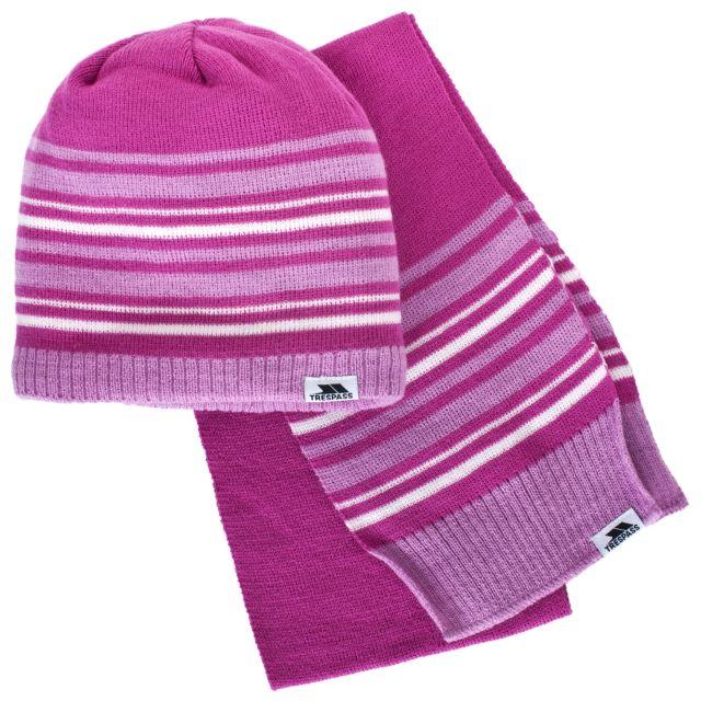 Hedgehog Kids' Hat & Scarf Set in Pink