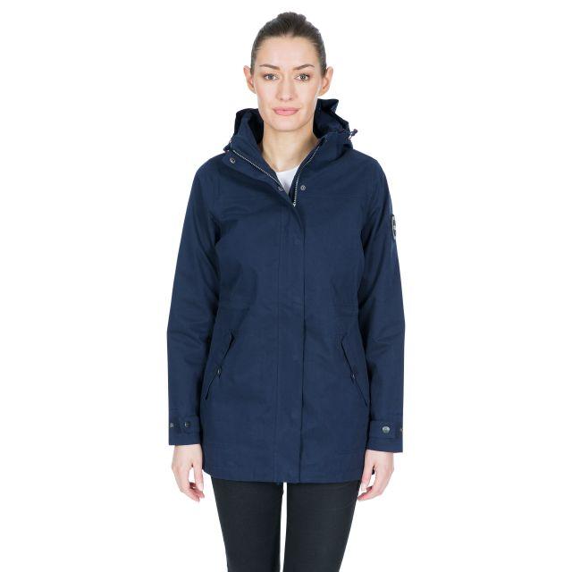 DLX Womens Long Waterproof Jacket Henriette in Navy