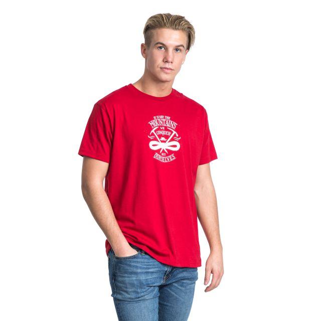 Heron Men's Printed Casual T-Shirt in Red