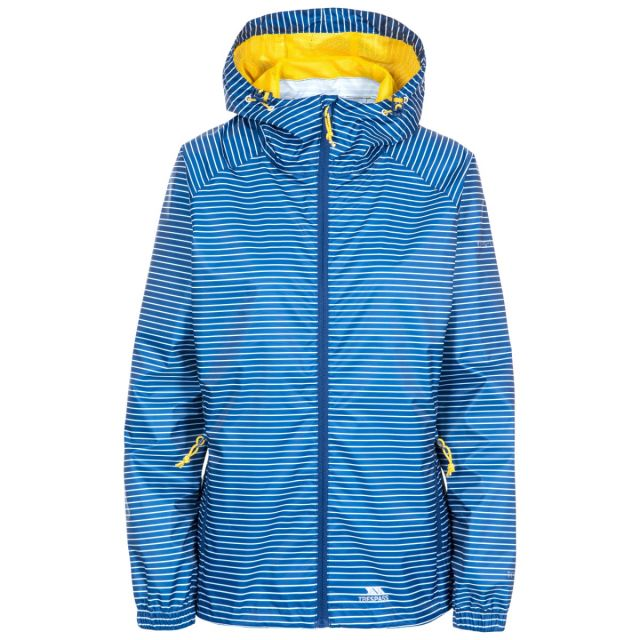 Trespass Womens Waterpoof Packaway Jacket Indulge in Blue, Front view on mannequin