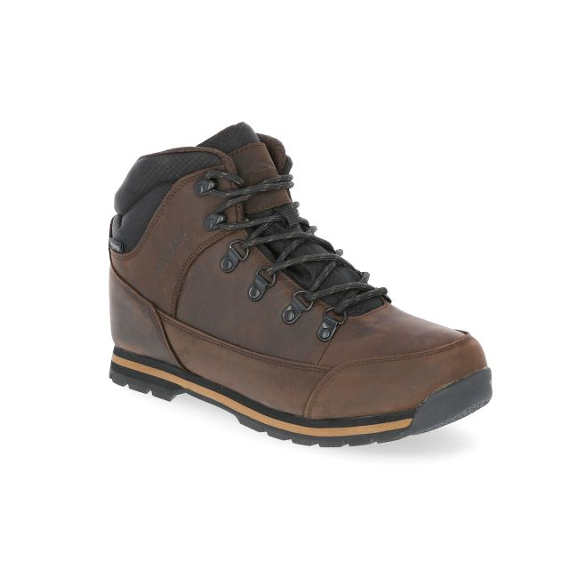 Jericho Men's Leather Waterproof Walking Boots in Brown