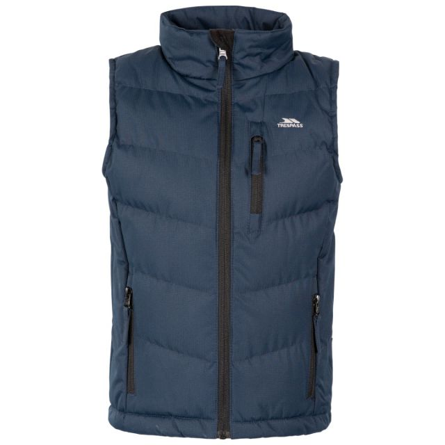 Trespass Kids' Padded Gilet Jacket Jetty Navy, Front view on mannequin