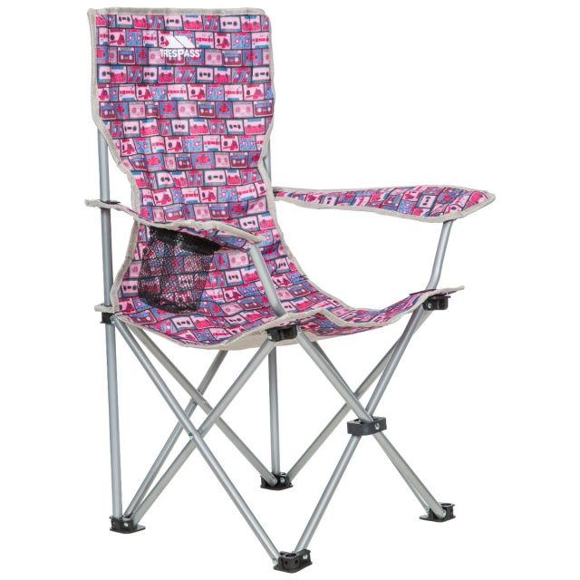 Joejoe Kids' Folding Camp Chair in Pink Retro Tape Pattern