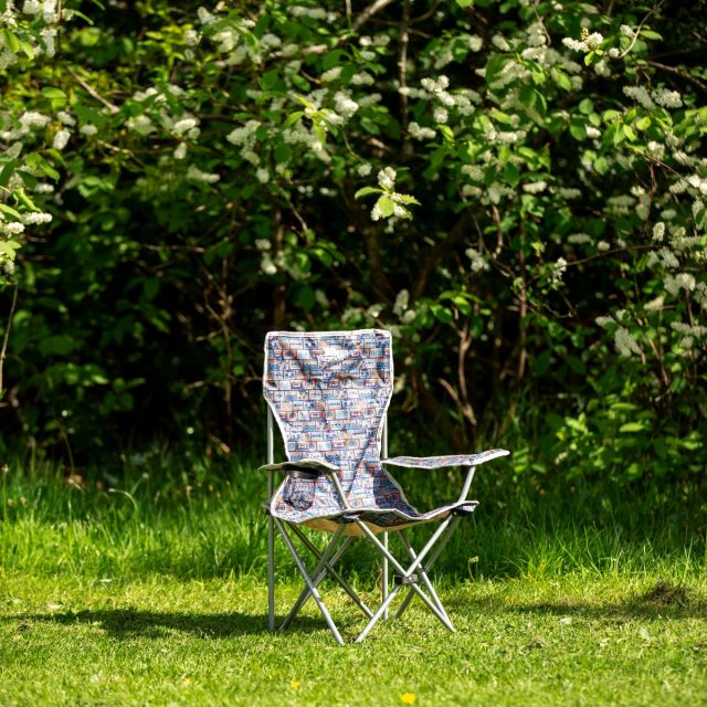 Joejoe Kids' Folding Camp Chair in Navy Retro Tape Pattern
