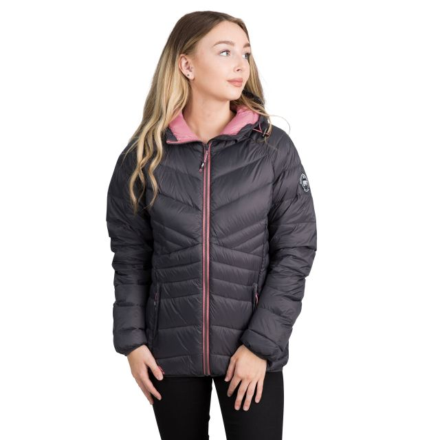 Trespass Womens Down Jacket Hooded Julieta in Grey