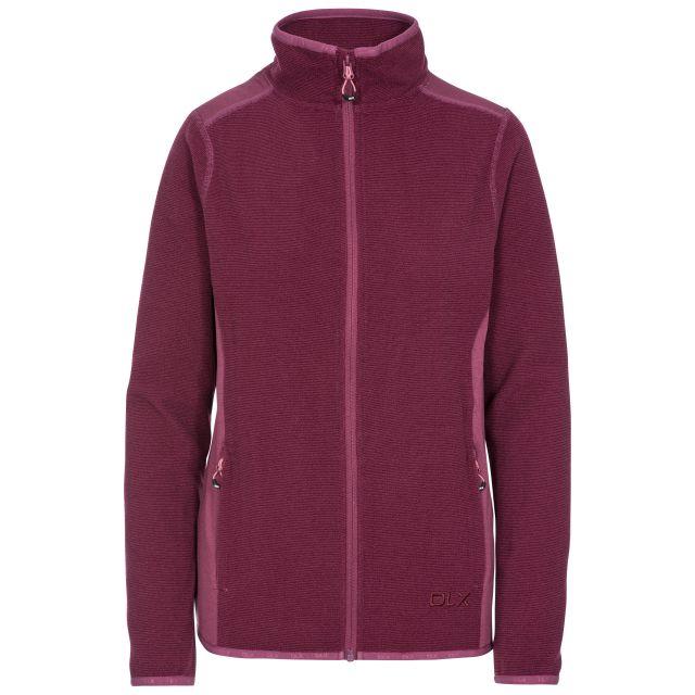 Kelsay Women's DLX Fleece Jacket in Purple, Front view on mannequin