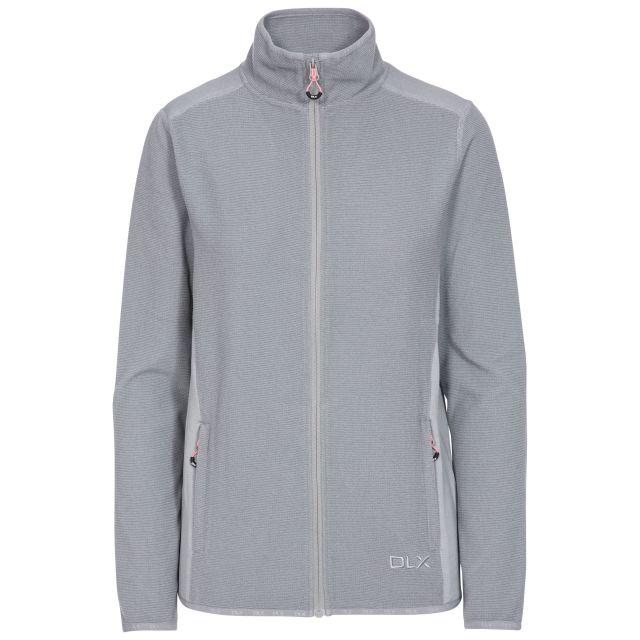 Kelsay Women's DLX Fleece Jacket in Grey, Front view on mannequin
