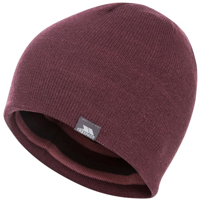 Kezia Adults' Reversible Knitted Beanie Hat in Purple