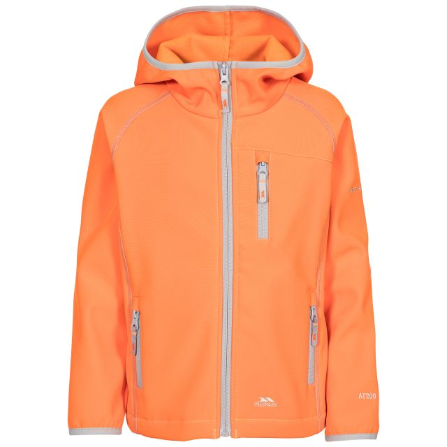 Kian Kids' Softshell Jacket in Orange, Front view on mannequin